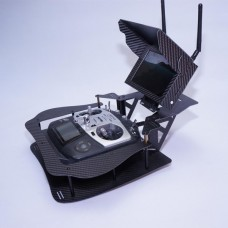 6inch HD 5.8G FPV Monitor +3K Carbon Fiber Folding Remote Controller Holder for Ground Station Framing