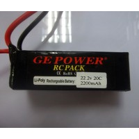 GE POWER 2200mAh 20C 22.2V Rechargeable Lithium Polymer Battery