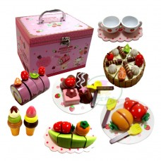 Wooden Toy Chocolate Stawberry Cake Toy Set Lovely Toy Box