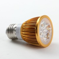 E27 3W LED Spot Light Bulbs Lamp Cool White LED Light AC85-265V 360lm 6000k Round-Golden Shell