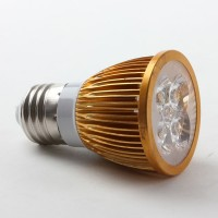 Aluminium Shell E27 3W LED Spot Light Bulbs Lamp Warm White LED Light AC85-265V 360lm 3000k-Golden Shell