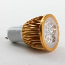 GU10 4W LED Spot Light Bulbs Lamp Cool White LED Light AC85-265V 360lm 6000k Golden Shell