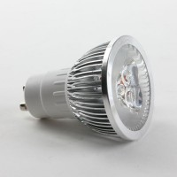 GU10 6W LED Spot Light Bulbs Lamp Cool White LED Light AC85-265V 400lm 6000k Silver Shell