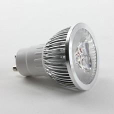 GU10 6W LED Spot Light Bulbs Lamp Cool White LED Light AC85-265V 400lm 6000k Silver Shell
