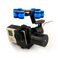 Aluminum FPV Brushless Gimbal Camera PTZ Kit w/ 2pcs Motors+Controller for Gopro 3 Camera Aerial Photography