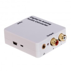 White Audio converter Digital to Analog 3.5mm Jack Toslink / SPDIF or Coaxial Digital Audio to Analog Audio HDA-2MB