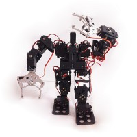 15DOF Biped Robotic Educational Robot Mount Kit +15 Servoes & Horn w/ 2pcs Aluminium Alloy Clamp Claw