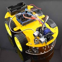 Yellow 4WD Smart Car Chassis+L293N+Bluetooth +Ultrasonic Sensor Tracking Robot Car+ Encoding Disk Set