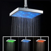 Hot 8 Inch Single Function Temperature Sensitive Rainfall LED Shower Head Chrome