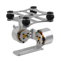 Silver CNC Brushless Camera Gimbal Mount Universal PTZ For Gopro 1/2/3 FPV Photography
