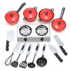 13 Set Kids Children Pretend Play Education Learn Kitchen Cookware Pot Pan Knife Christmas Gift