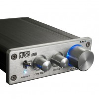 MUSE SA50 68W x2 T-AMP Amplifier TDA7489L EQ Bass Treble w/ Power Adapter-Silver Panel