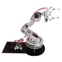 Silver Metal Alloy 6 DOF Robotic Robot Arm Clamp Claw & Swivel Rotatable Stand Mount Kit for Arduino