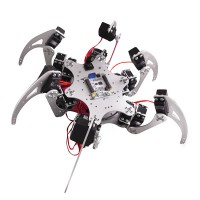 18 DOF Silver Aluminium Hexapod Spider Six 3DOF Legs Robot Frame Kit with Ball Bearing Fully Compatible with Arduino