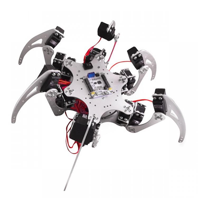 Dof silver aluminium hexapod spider six legs robot