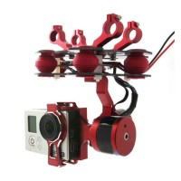 Red 2-axis BGC Brushless Camera Gimbal GoPro3 Motors Controller PTZ Complete Set for both Airplane & Multicopter