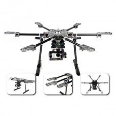 X-CAM Multi-Rotor Copter CF6-Mini Collapsible Folding Hexacopter + Retractable Landing Skid  for Gopro & Mini DSLR FPV