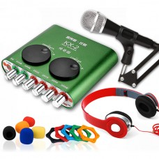 XOX KX2 KX-2 Net Singer USB External Sound Card Network K Song + Microphone & Small Gift - Green