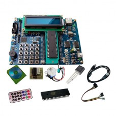 51 Single Chip Development Board 51 STC89C52 Learning Board w/ Emulator 1602 LCD IR Temperature Sensor