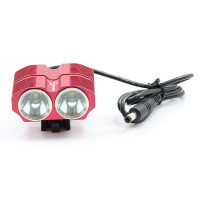 LusteFire BL-2 2 x CREE XM-L T6 1600LM 4-Mode Cool White LED Bicycle Light/Headlamp-Red(4x18650)