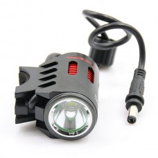 LusteFire P10 CREE XM-L2 T6 5-Mode 800LM White High Beam Bike Light w/ Halo Effect - Black + Red