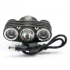 JEXREE Lasted and High Quality Super Bright 3 x Cree XM-L3 U2 LED 3-Mode 2200 Lumens Bike Light with Battery Pack and Charger