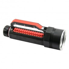 LusteFire DV400 4xCree XM-L2 T6 1-Mode 3000LM Stepless Dimming Adjusted Diving Flashlight w/ Handgrip-Red(2x26650)
