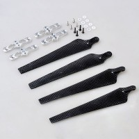 1552 Carbon Fiber Folding Propeller CW/CCW Set w/ Silver Propeller Holder Mount Bracket Titanium