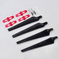 1552 Carbon Fiber Folding Propeller CW/CCW Set w/ Red Propeller Holder Mount Bracket Titanium