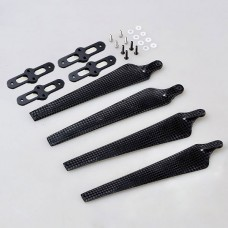 1552 Carbon Fiber Folding Propeller CW/CCW Set w/ Black Propeller Holder Mount Bracket Titanium