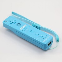 Wireless Motion Plus Remote Controller+Silicone Case +Wristband for Nintendo Wii Blue