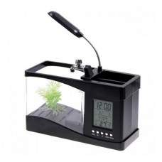 Mini USB Fish Tank Aquarium LED Light Sound Recycled Running Water LCD Clock PC Desktop