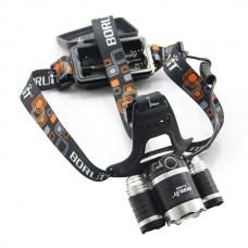 Boruit RJ-3000 Headlamp 3x CREE XML T6 LED Headlight Head Lamp + AC Charger w/ 2*4000mah battery