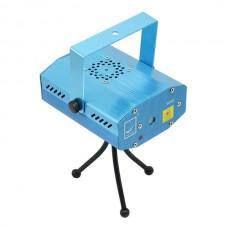S09D Mini Sound Control Red + Green Laser Stage Light w/ Tripod Disco KTV Projector Lighting - Blue