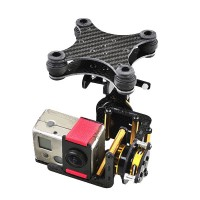 Gopro 2 Carbon Fiber Two Axis FPV Brushless Camera Gimbal Mount PTZ Complete Kit w/ 4pcs Rubber Ball  f/ Multicopter