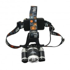 Boruit RJ-3000 Headlamp 3x CREE XML T6 LED Headlight Tactic Head Lamp + AC Charger