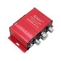 Mini Amplifier MA-170 Mini Aluminum Alloy 2-Channel Hi-Fi Stereo Home Amplifier Red DC 12V