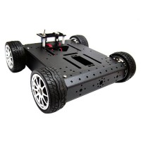 4WD Aluminum Chassis Rubber Wheel Aluminum Mobile Car Chasssis Robot Platform 12V Metal Motor