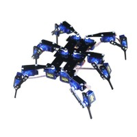 Mini 6 Leg 18 DOF Robot Black RC Spider Robot Bracket Stent Accessory (With 18 Servos)