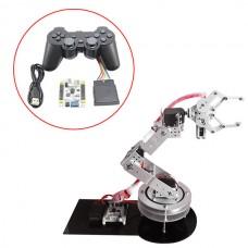 Aluminium 6 DOF Robotic Arm Clamp Claw & 6pcs MG996R Servos & 32CH Controller Full Set for Arduino-Silver