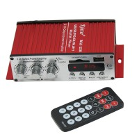 Red Kinster Ma-120 Mini Car Stereo Amplifier 10W*2 SD USB MP3 Digital Player DC12V TDA 7377