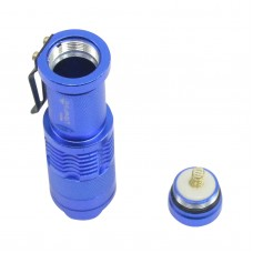 Ultrafire Cree Q5 LED Flashlight 7W High Power Mini Zoomable 3 Modes Waterproof Glare Torch 14500 /AA Bicycle Blue