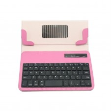 "S600 Universal Wireless Bluetooth Stand Shelf Plug-in Keyboard Magnetic Leather Smart Cover Case for Tablets 7"" 8"" inch TX5A03 Pink"