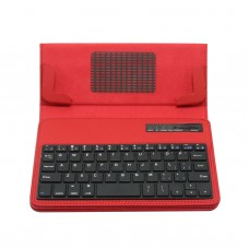 "S600 Universal Wireless Bluetooth Stand Shelf Plug-in Keyboard Magnetic Leather Smart Cover Case for Tablets 7"" 8"" inch TX5A03 Red"