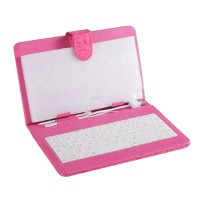 7inch 8inch 9inch 9.7inch Ipad Keyboard Leather Cover for All Pads Rose Red