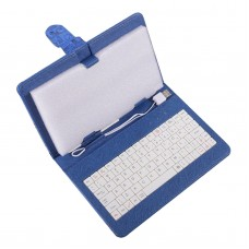 7inch 8inch 9inch 9.7inch Ipad Keyboard Leather Cover for All Pads Dark Blue