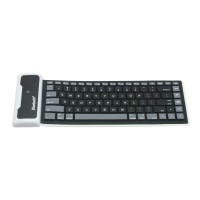 WP002 Universal Portable Storable Revoluble Silicone Wireless Bluetooth Keyboard for iPad 2 iPad 3 iPad 4 Black