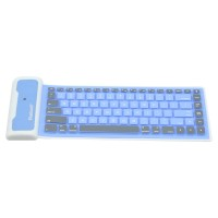 WP002 Universal Portable Storable Revoluble Silicone Wireless Bluetooth Keyboard for iPad 2 iPad 3 iPad 4 Blue