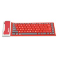 WP002 Universal Portable Storable Revoluble Silicone Wireless Bluetooth Keyboard for iPad 2 iPad 3 iPad 4 Red