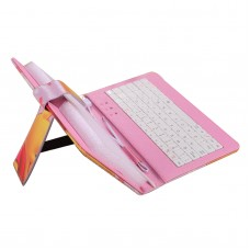 "Ipad PC Keyboard Leather Case for All Pad Tablet PC w/ Adjustable Buckle 7"" 8"" 9"" 9.7"" 10"" inch Winnie Bear Pink"